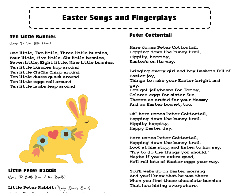 Mrs Home Ec Easter Songs And Fingerplays Better Late