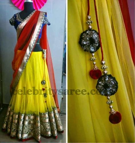 Yellow Half Sari with Antique Border
