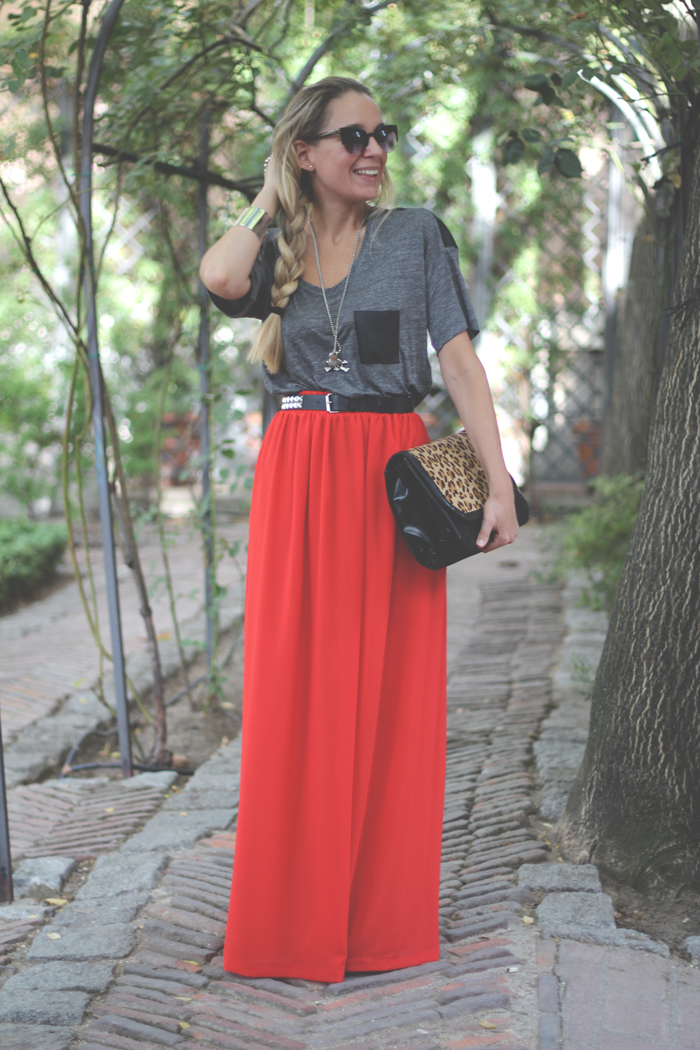 Maxi Red Skirt, long skirt, casual look, street style, my showroom, skull, leopard print, garden, fashion blogger