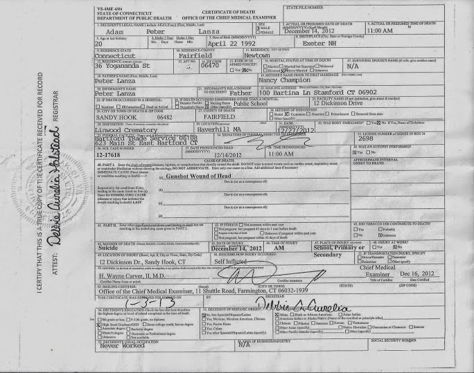 Sandy Hook- Facts & Research: Adam Lanza Death Certificate Released