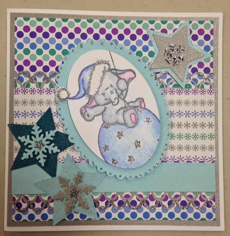 Doodlebug Designs Frosty Friends Card, bella on a bauble
