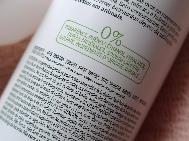 Caudalie Grapewater Spray Ingredients