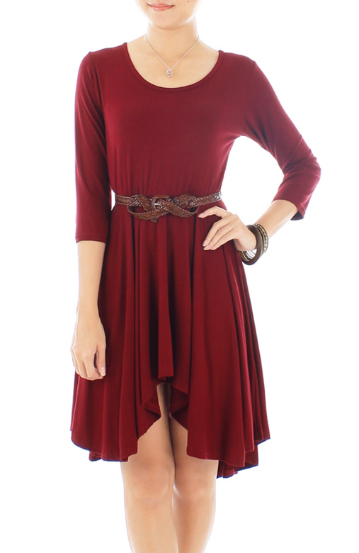 Dip Back Mini Dress with ¾ Sleeves – Auburn Red