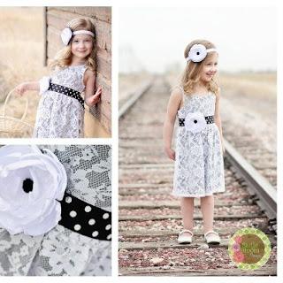 Flower Girl Black and White Polka Dot Sash and Headband