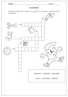 Cruzadinha com objetos e banco de palavras - Atividades para Alfabetização.