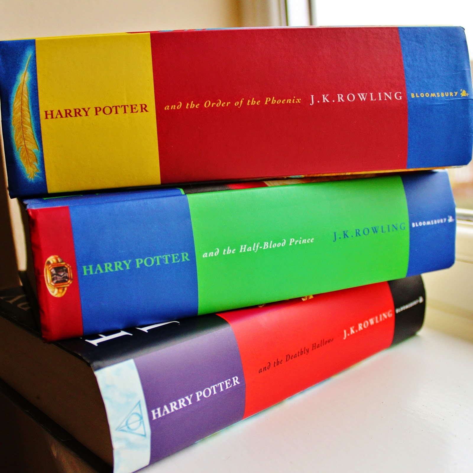 Stack of three Harry Potter Books