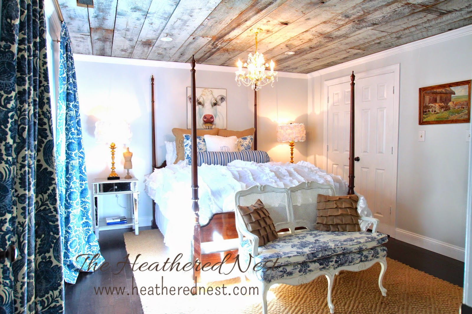 heathered nest guest room, heathered nest modern country bedroom, heathered nest be our guest, urban country design, modern country design, barnboard ceiling, toile, burlap, sisal rug