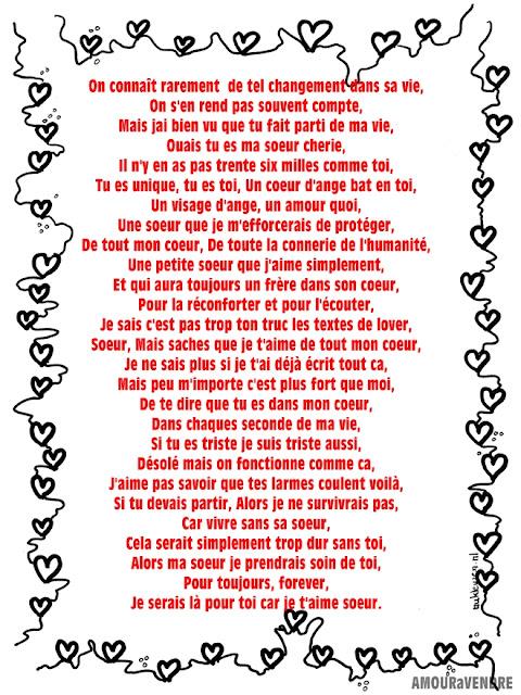 lettre amour soeur