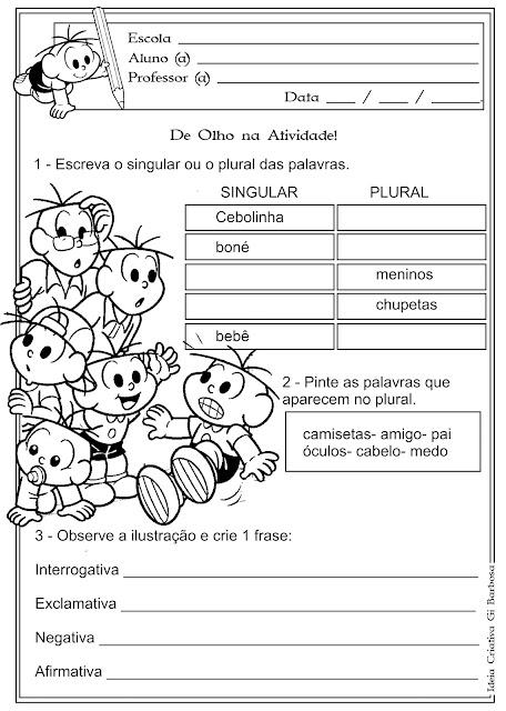 Atividade Singular e Plural e Tipos de Frase