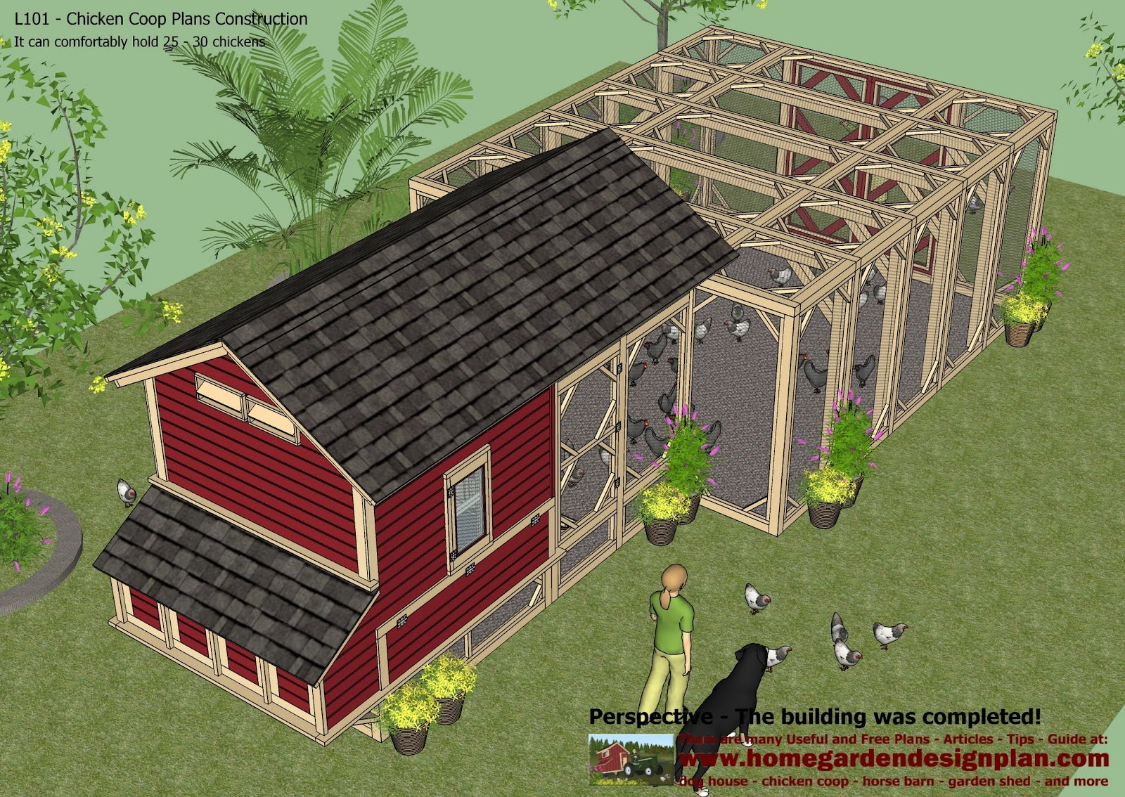Home garden plans l101 chicken coop plans construction for Making a chicken coop