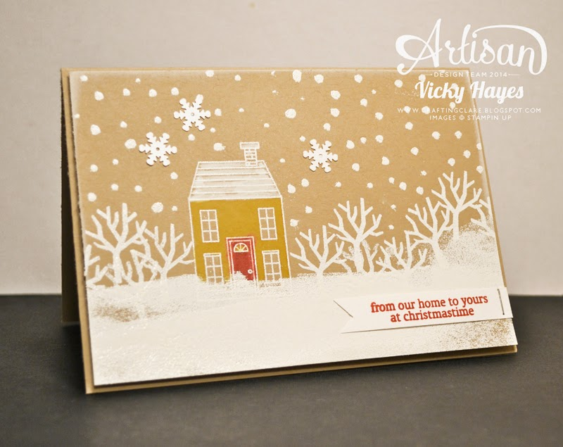 UK Stampin' Up demonstrator Vicky Hayes shows a snowy scene made with a heat embossing technique