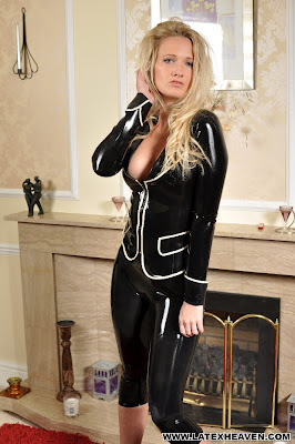 Skin Tight Black Latex Suit on Hot Blonde Jade