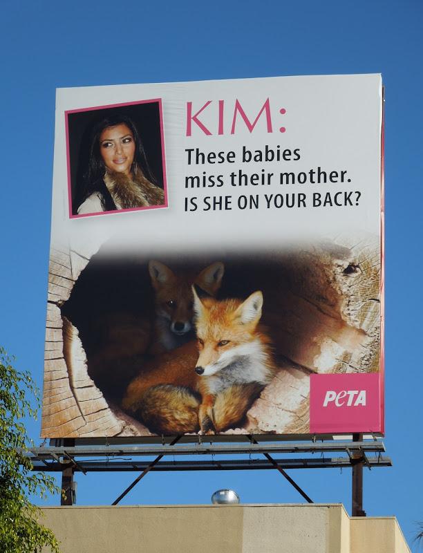Kim Kardashian PETA fur billboard