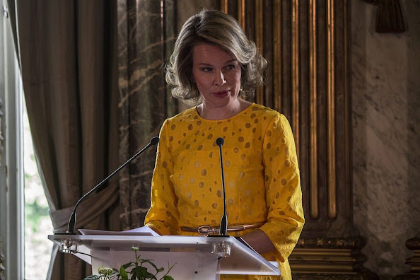 Queen Mathilde of Belgium attends the award ceremony of the 'Queen Mathilde Prize 2015' at the Royal Palace