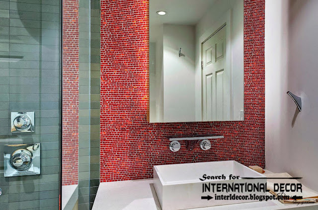 modern bathroom tiles designs ideas, red mosaic tiles for bathroom