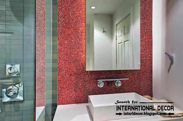 modern bathroom tiles designs ideas, red mosaic tiles for bathroom