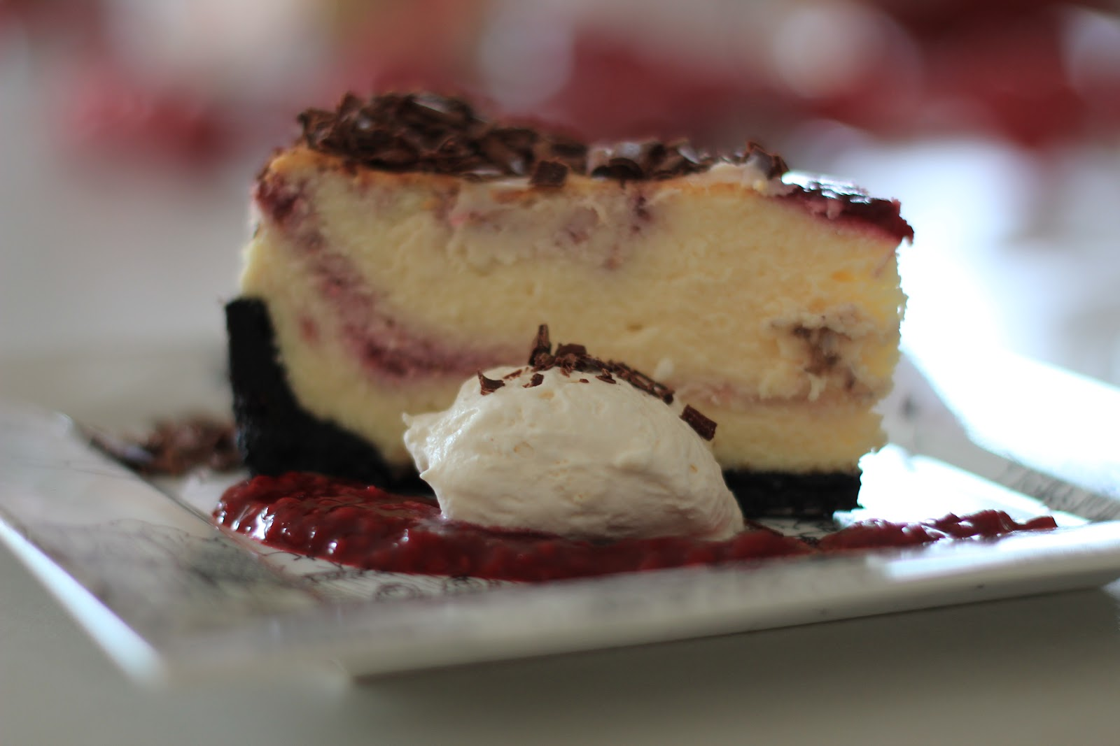 Little Cuppa Tea: White Chocolate Raspberry Swirl Cheesecake