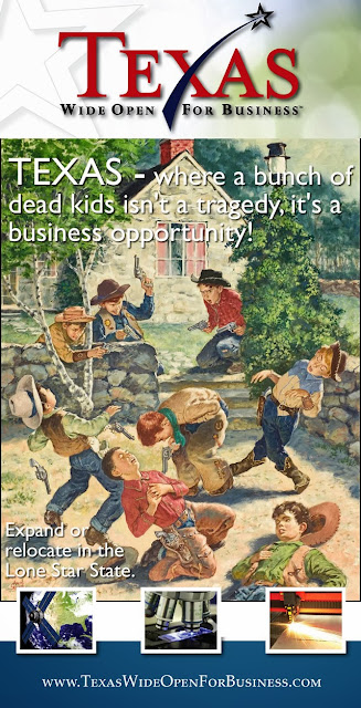 funny rick perry Texas wide open for business, texas where dead kids = profit, Rick Perry whore for Texas