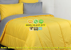 Harga Sprei Dan Bedcover Polos Grey-yellow/abu-kuning/uk Jual