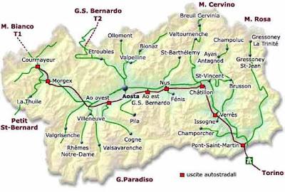 Valle D'Aosta Mapa de la Ciudad