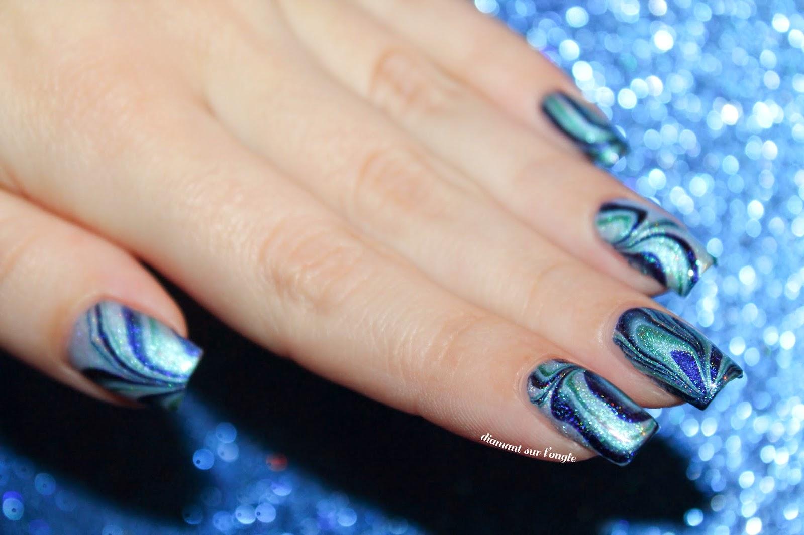 Blue Watermarble Nail Art