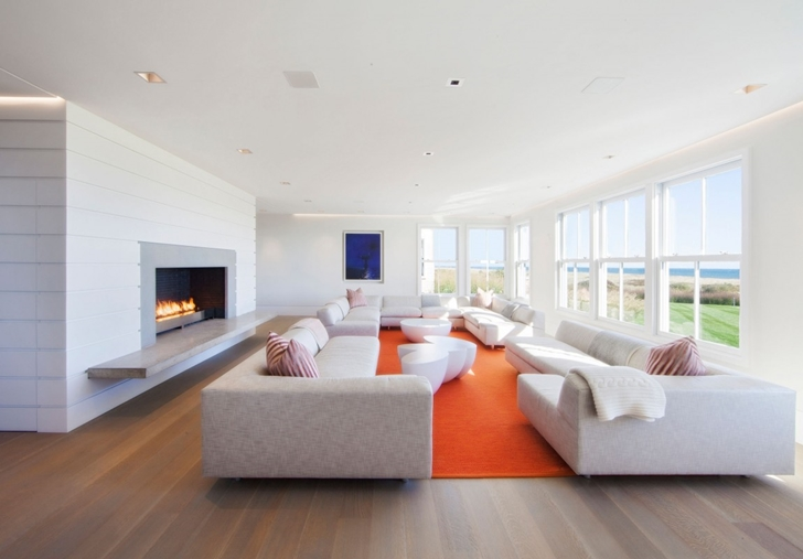 Living room in Contemporary style home on the beach