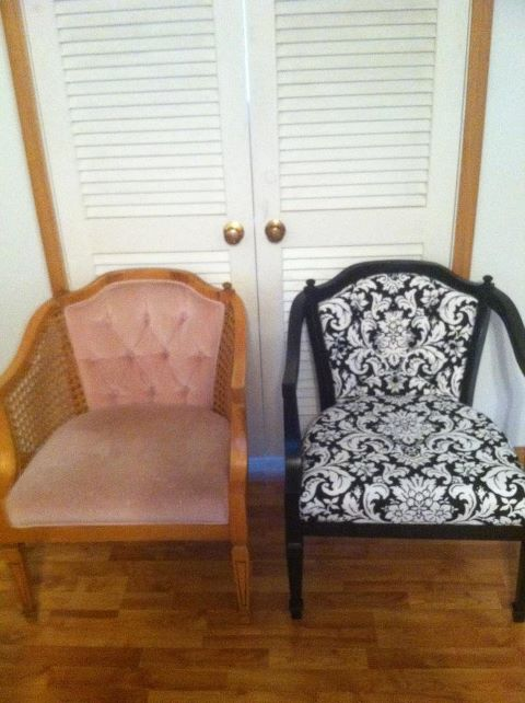 Ordinaire Bought Two Chairs On Craigslist For $20. Went To Hobby Lobby And Bought  Some Fabric On Sale. Painted The Chairs Black And Recovered The Cushions.
