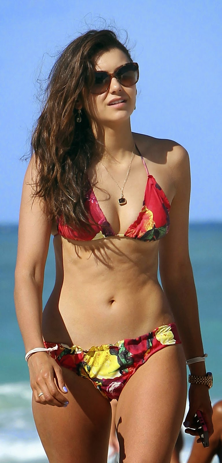 Nina Dobrev At the Beach