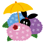 紫陽花とカタツムリのイラスト(ぴょこ)