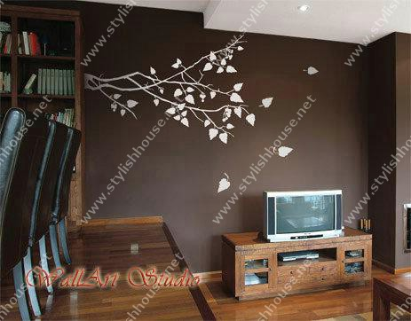 Stylish tree leaves wall stickers for living room walls
