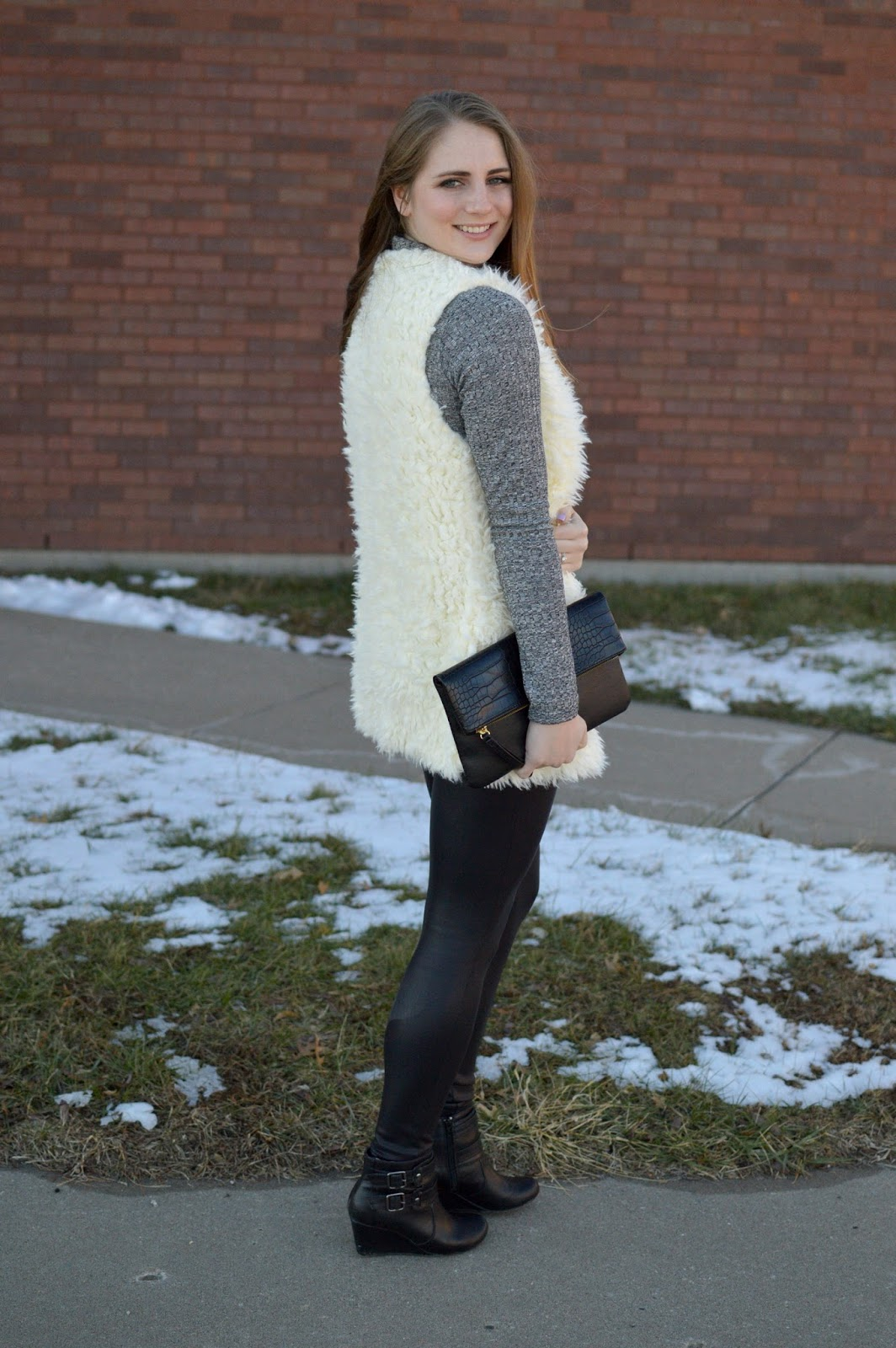 how to style a white fur vest