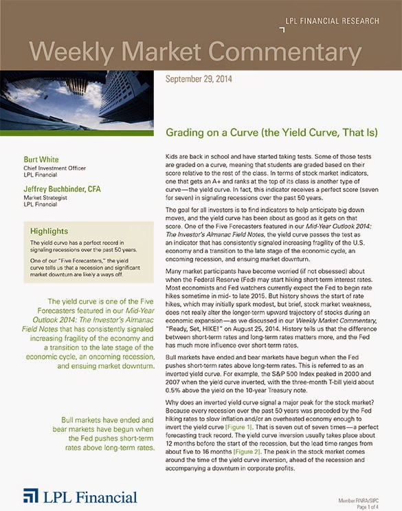 September 29, 2014 - LPL Financial Weekly Market Commentary from Legacy Wealth Planning
