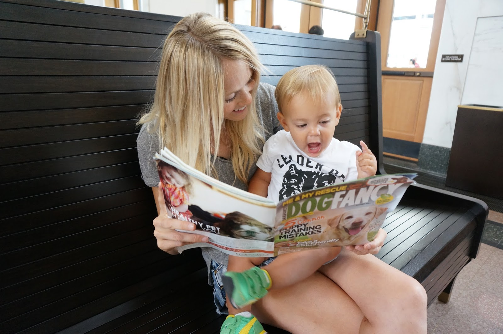 reading a magazine at Union Station