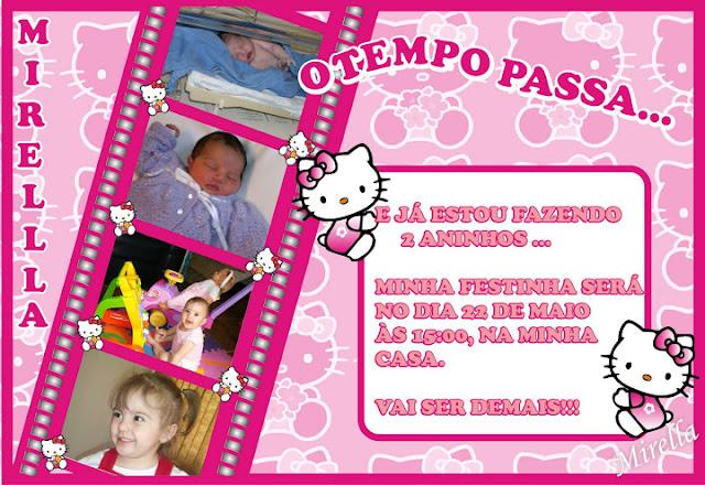 Convite Festa Aniversário Infantil Hello Kitty - O Tempo Passa