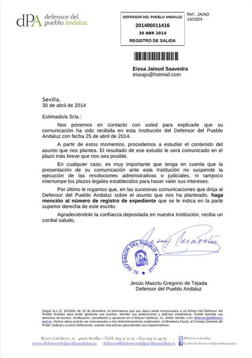 Asociaci n de eventuales del sas mayo 2014 for Oficina del defensor del pueblo