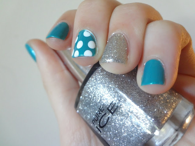Bailamos nail polish, silver glitter, polka dots, accent nails