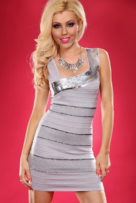 GREY SEQUIN ASYMMETRICAL NECKLINE MINI BEADED DECOR SEXY BANDAGE MINI DRESS