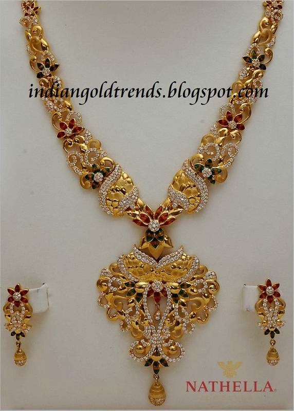 Diamond necklace set by khazana jewellers latest jewellery designs - Gold Long Chain Designs Gold Long Chain Designs