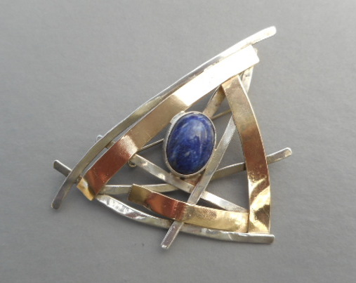Sterling and 14K Sodalite Pin-pendant