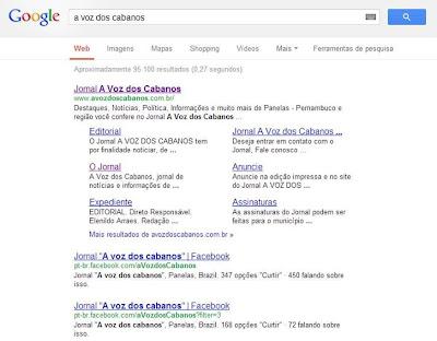 Site do Jornal A Voz dos Cabanos