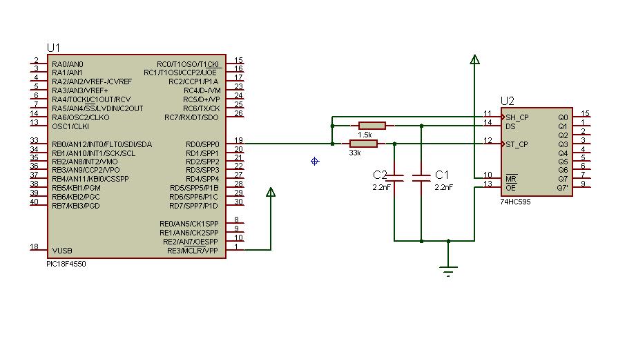 One-Wire com 74HC595