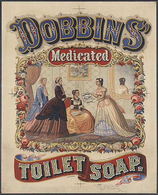 advertising, classic posters, free download, graphic design, retro prints, vintage, vintage posters, Dobbins' Medicated Toilet Soap - Vintage Soap Advertising Poster
