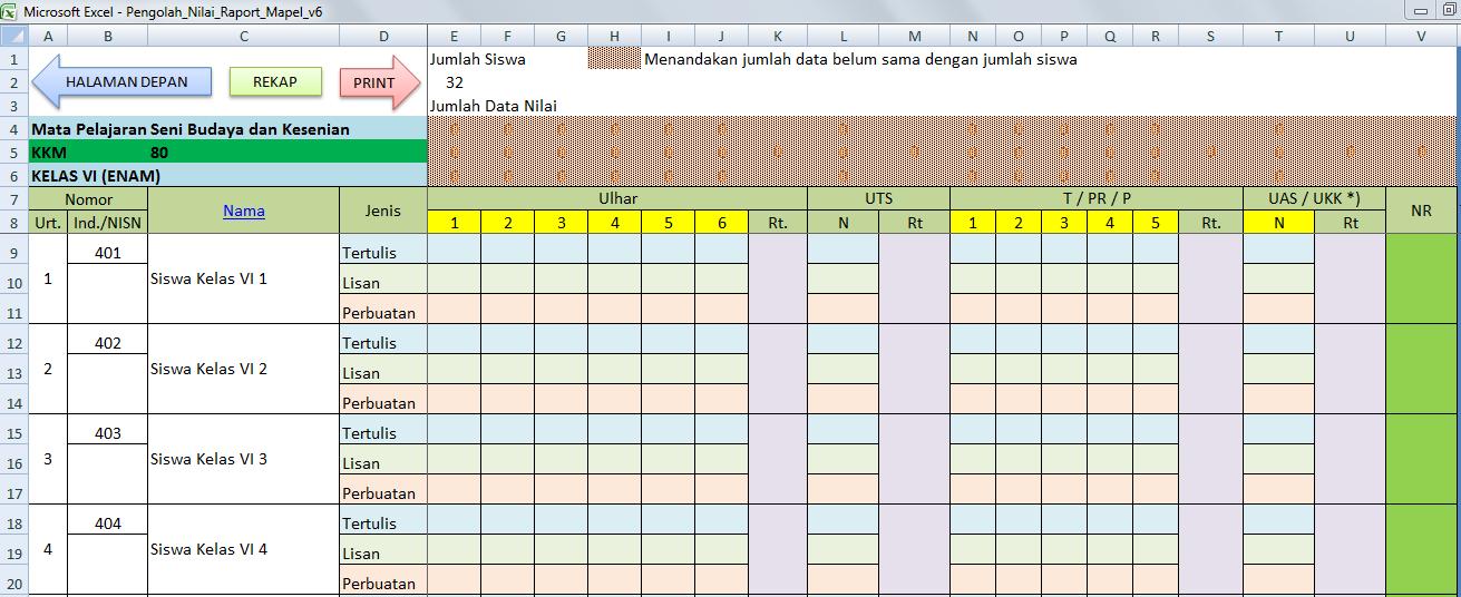 Aplikasi Raport KTSP Mapel SD Excel   deuniv View Image