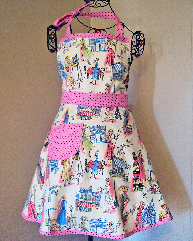 White half apron ebay - Http Www Ebay Com Itm Vintage Style Apron Womens Full Size Retro Apron Paris Theme Handmade 200712141205 Pt Lh_defaultdomain_0 Hash Item2ebb603995