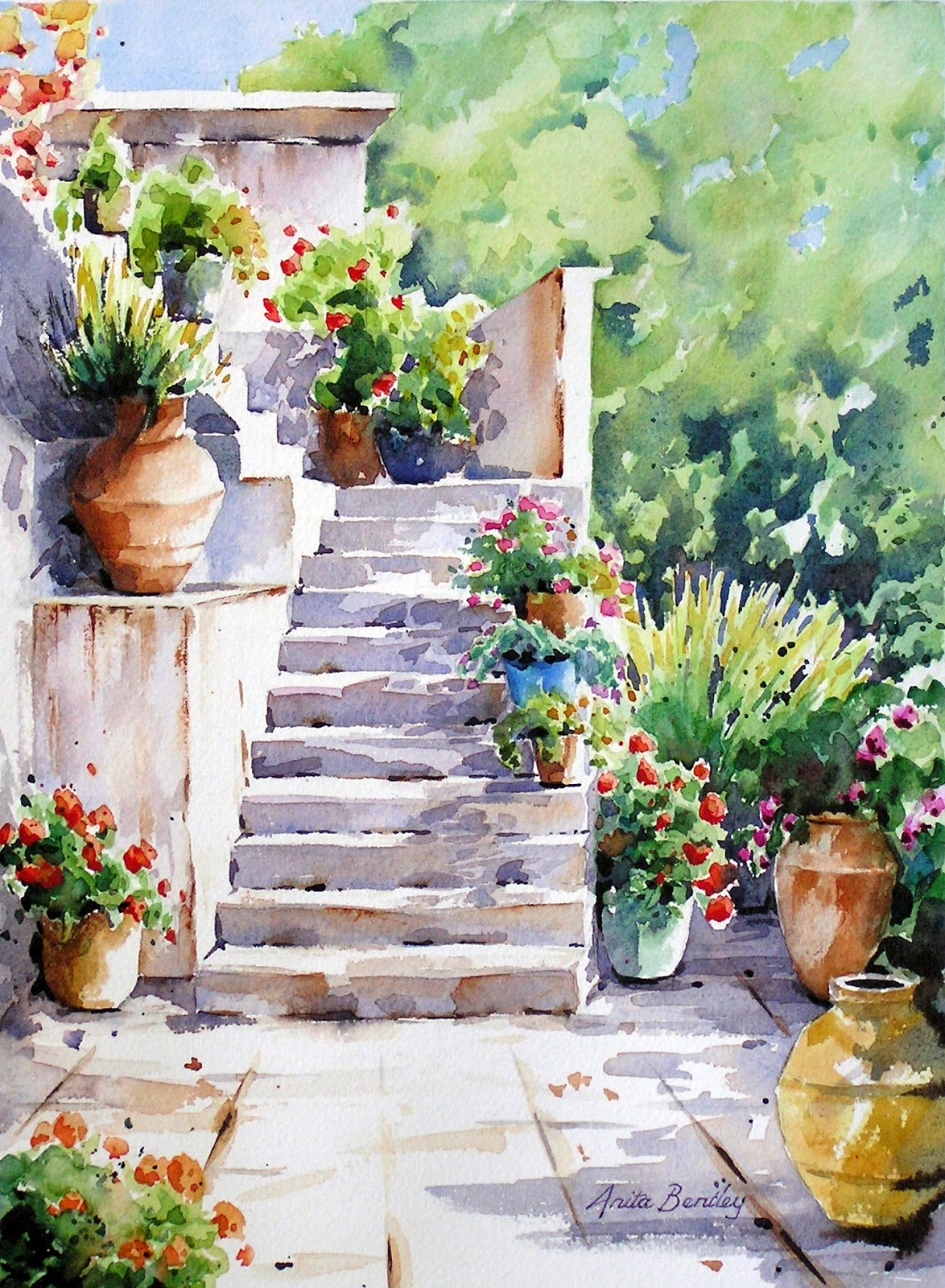 Watercolours By Anita Bentley Framed Paintings 1