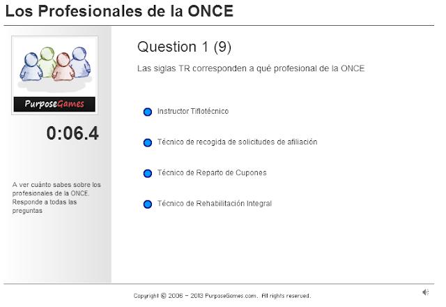 la imagen muestra el juego purpose games de respuestas tipo test