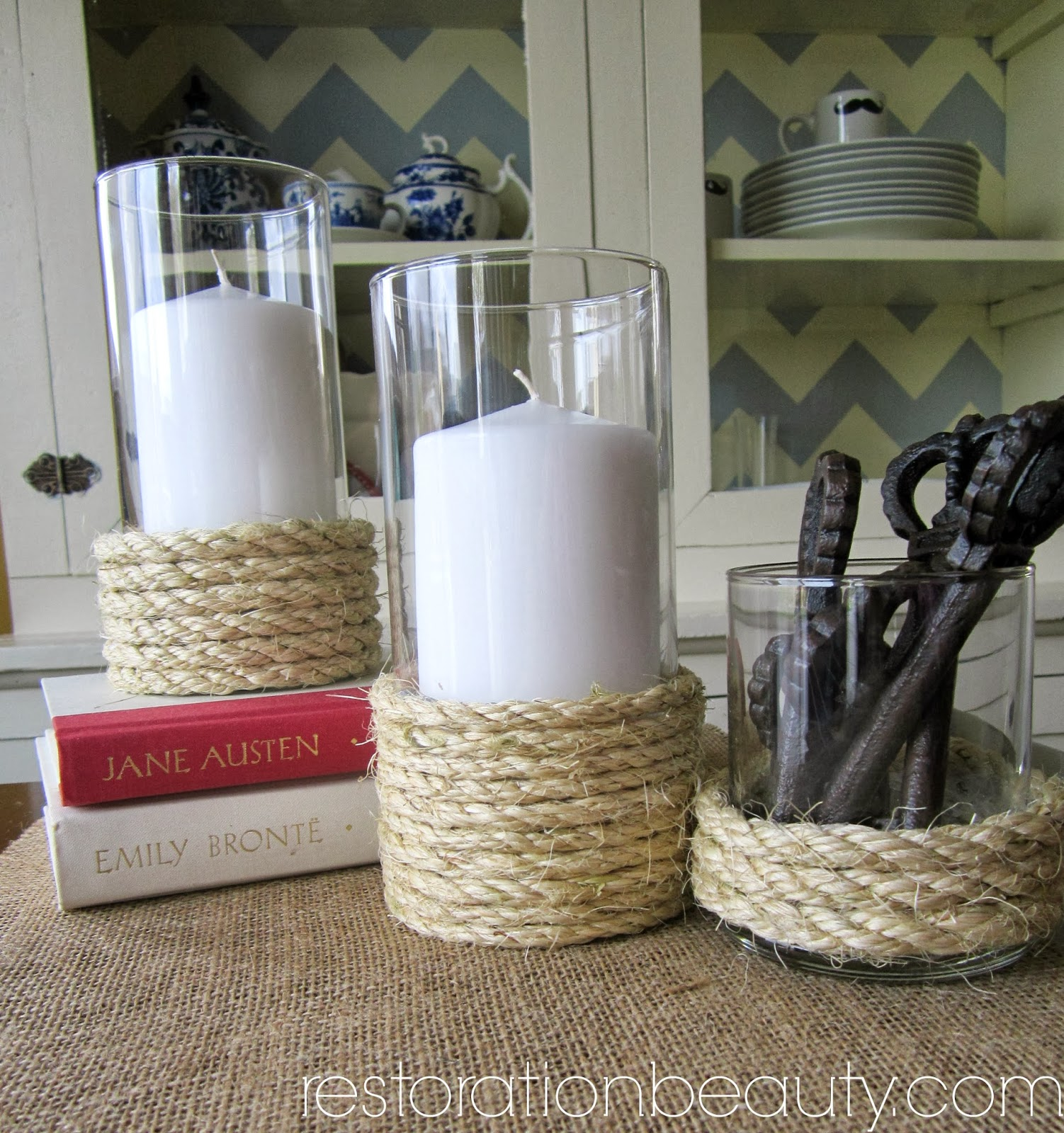 DIY Rope Hurricane Vases (Candle Holders)