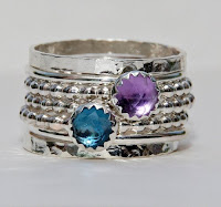 Birthstone Rings Set Rose Cut London Blue Topaz Amethyst February Birthstone Ring Stackable Ring Sterling Silver Ring Mothers Stack Ring by mothersring