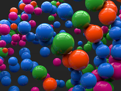 3D Colorful Reflecting Balls HD Desktop Wallpaper
