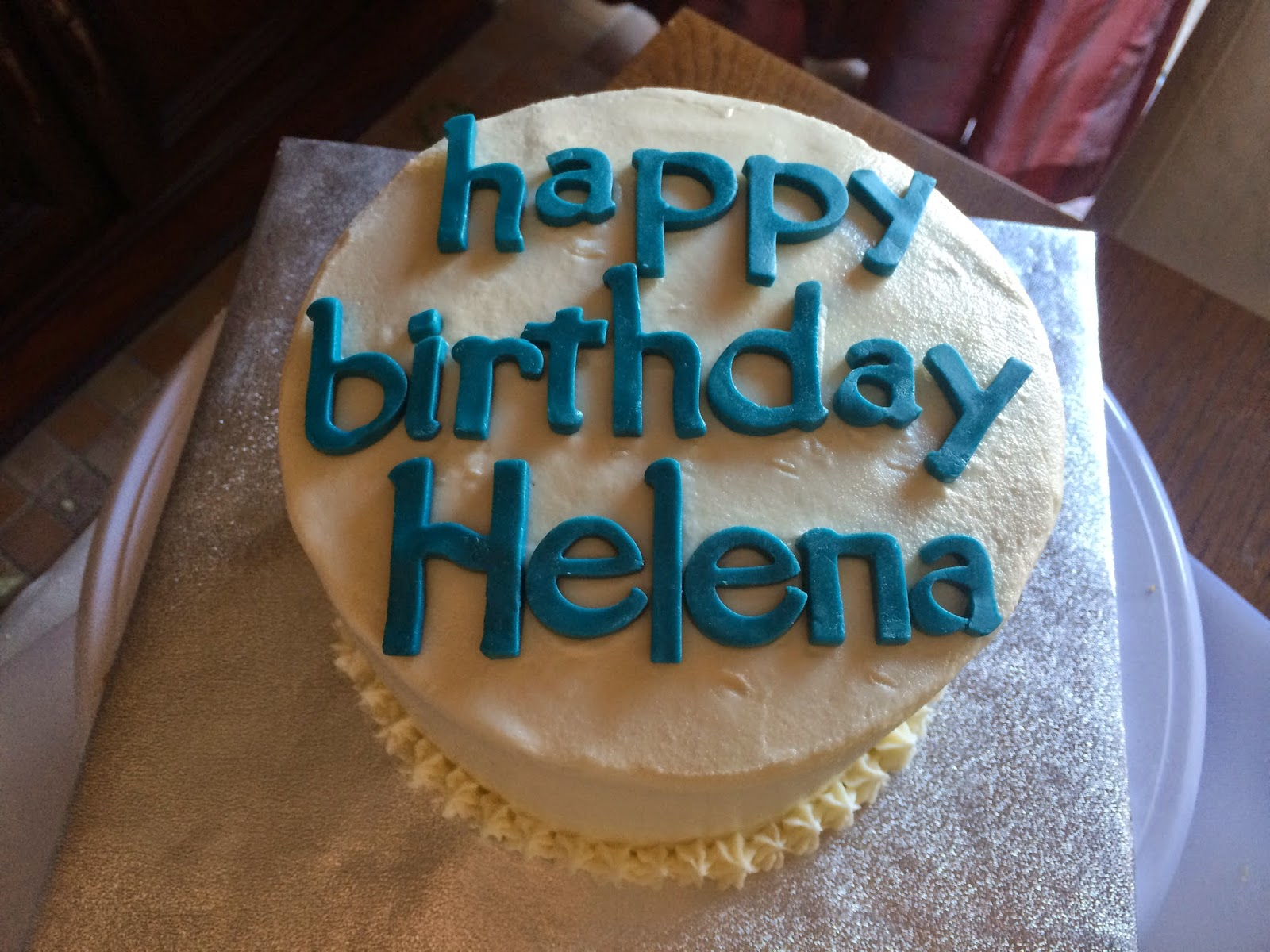 Joyce Gourmet White Teal Happy Birthday Cake